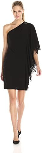 Amazing offer on Betsy & Adam Women's One Embellished Shoulder Fringe Dress online #backlesscocktaildress