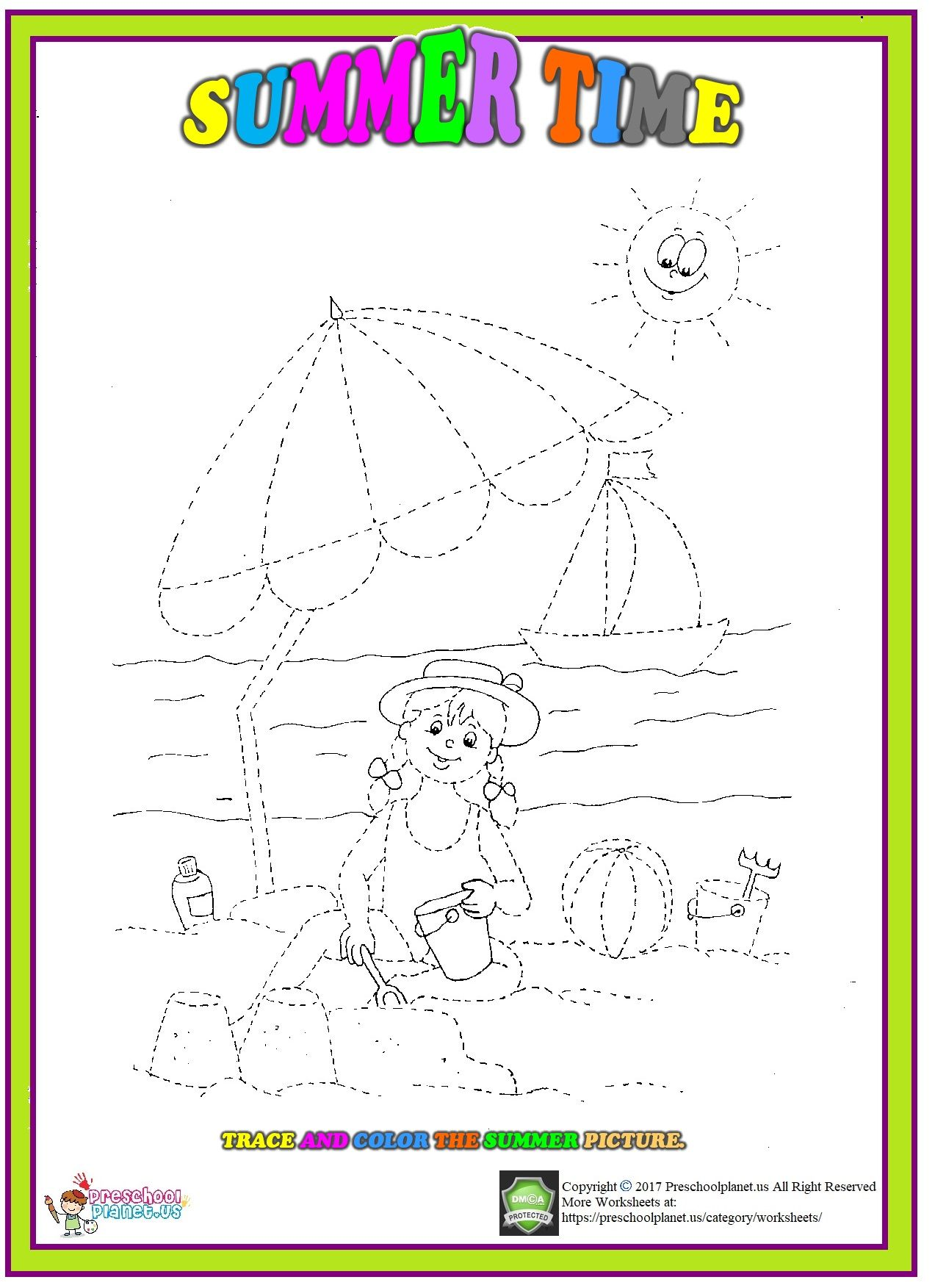 Summer Trace Worksheet