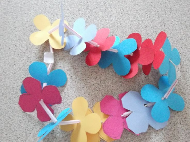 Easy Paper Flowers Kids Simple Paper And Straw Flower Garland