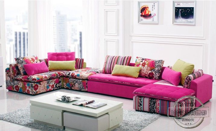 U BEST high quality sectional sofa pink fabric 6 seat sofa ...