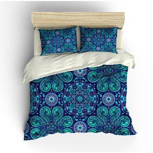 Boho Chic Bedding Duvet Cover Set Purple Teal Mandala Lace Design
