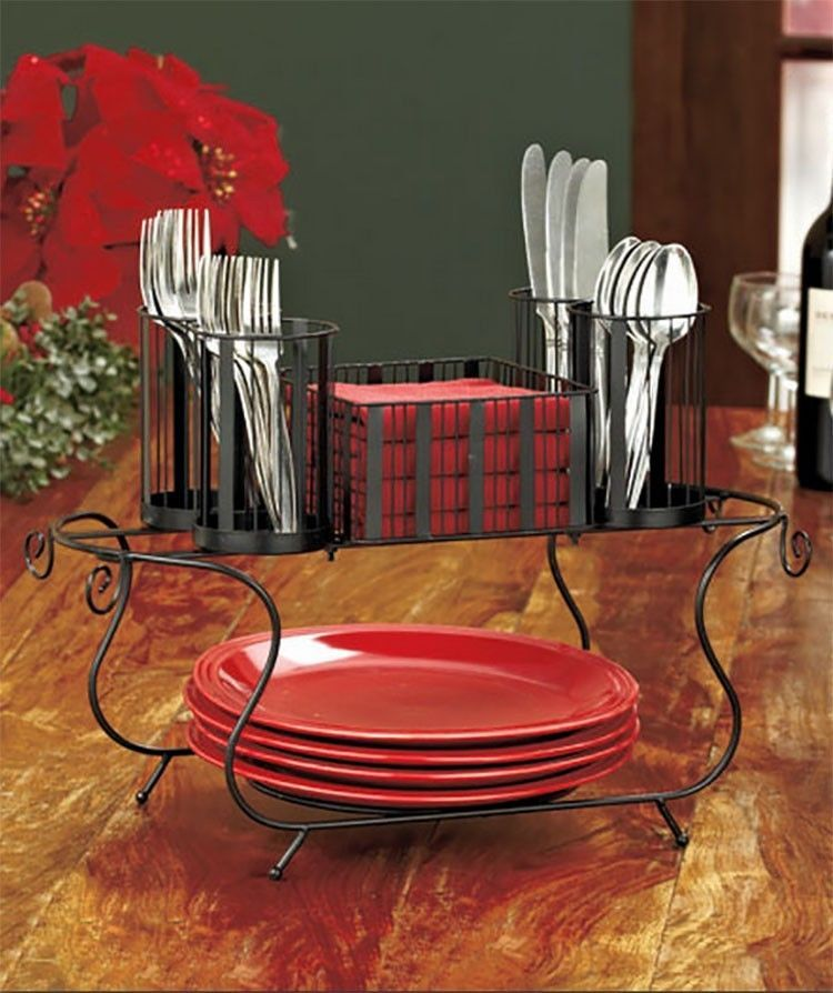 Buffet Caddy Plates Silverware Flatware Napkins Organizer