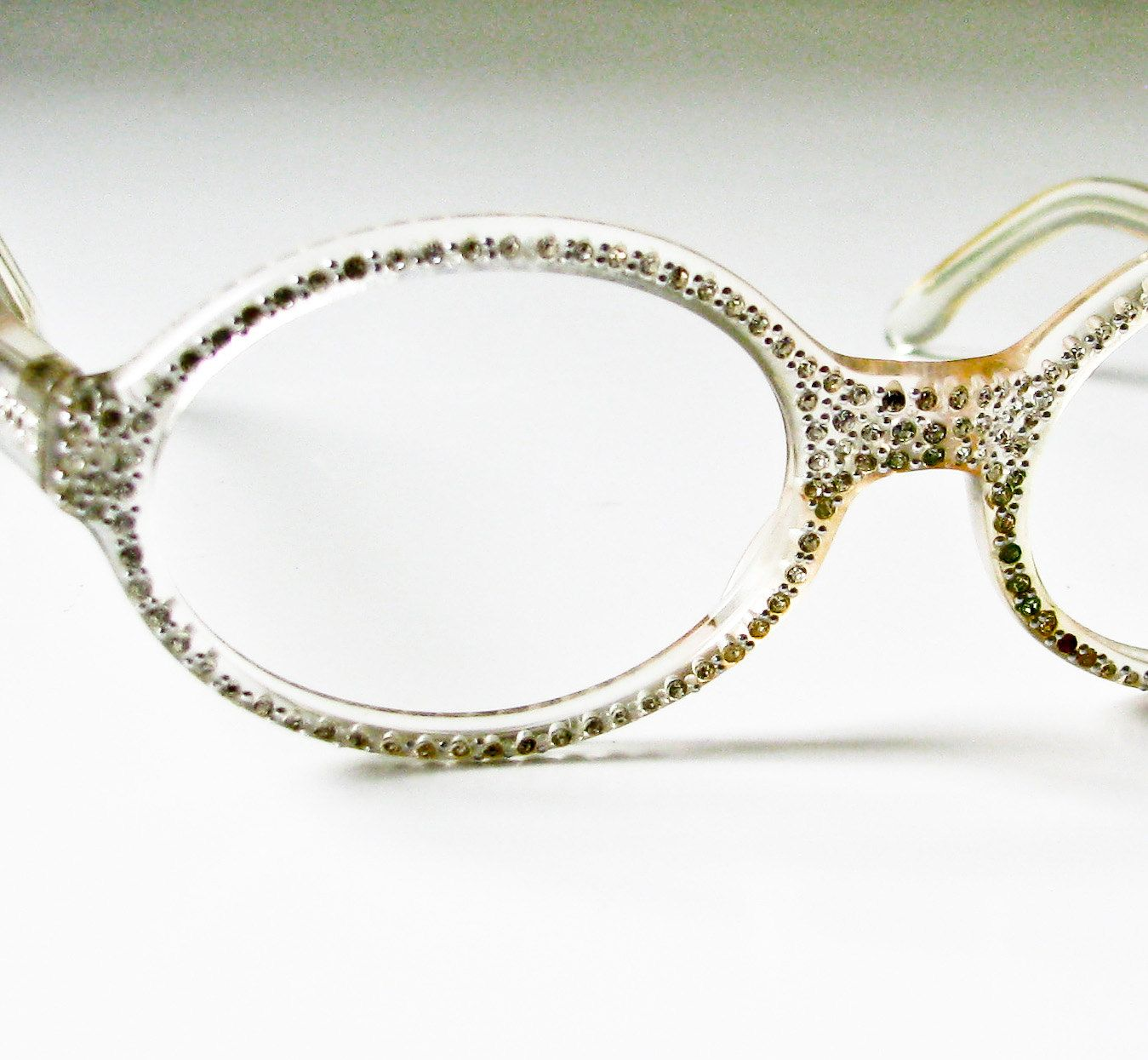 1950s clear plastic and rhinestone eyeglass frames ready for prescription or dark glass mid century modern french