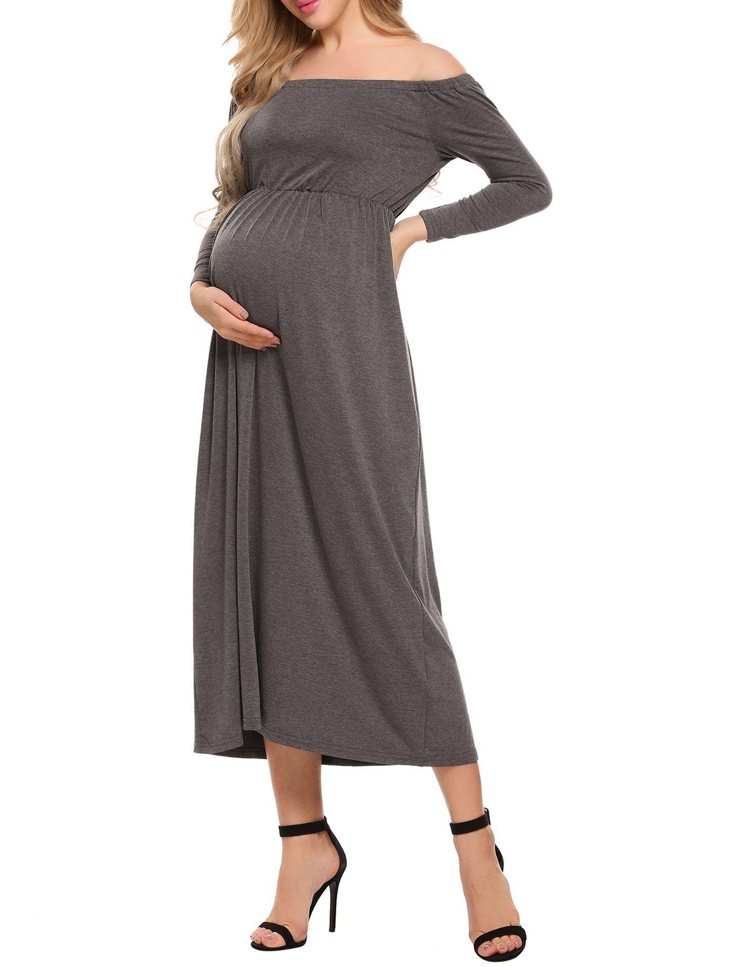 Acevog womens maternity and nursing cowl neck off shoulder long