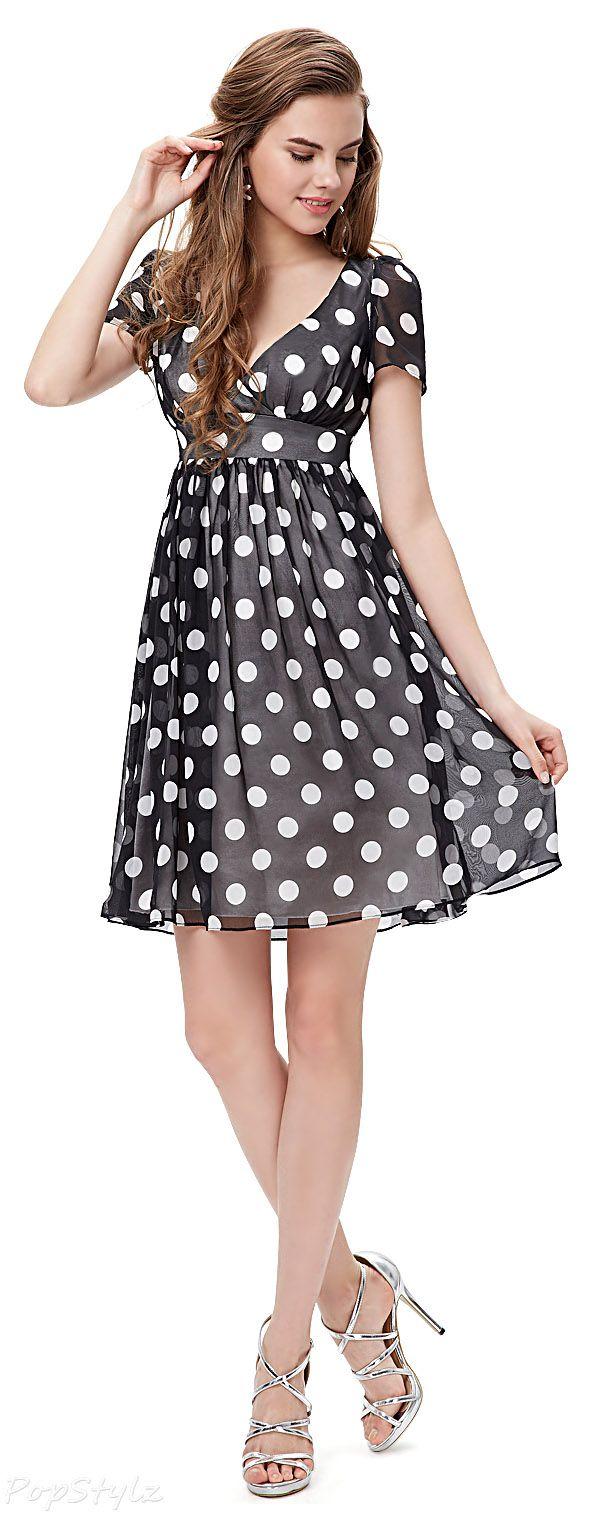Black & White Short Sleeve V-Neck Polka Dot Dress