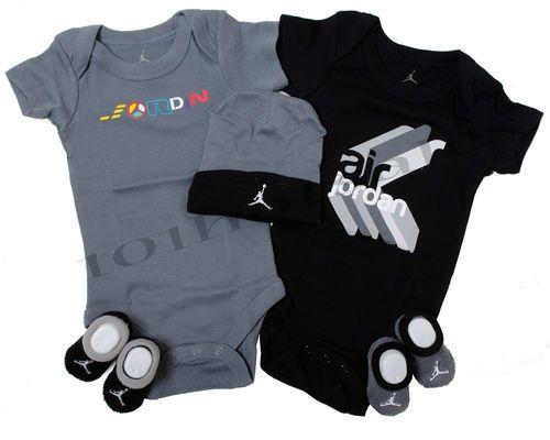 Nike Newborn Jordan Infant Baby Boy 5Pc Bodysuit Onesie Booties Hat 0 6  Months