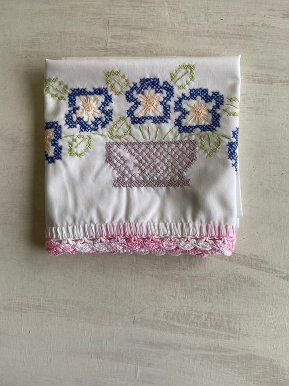 Old Fashioned White Pillowcase With Embroidered Cross Stitch