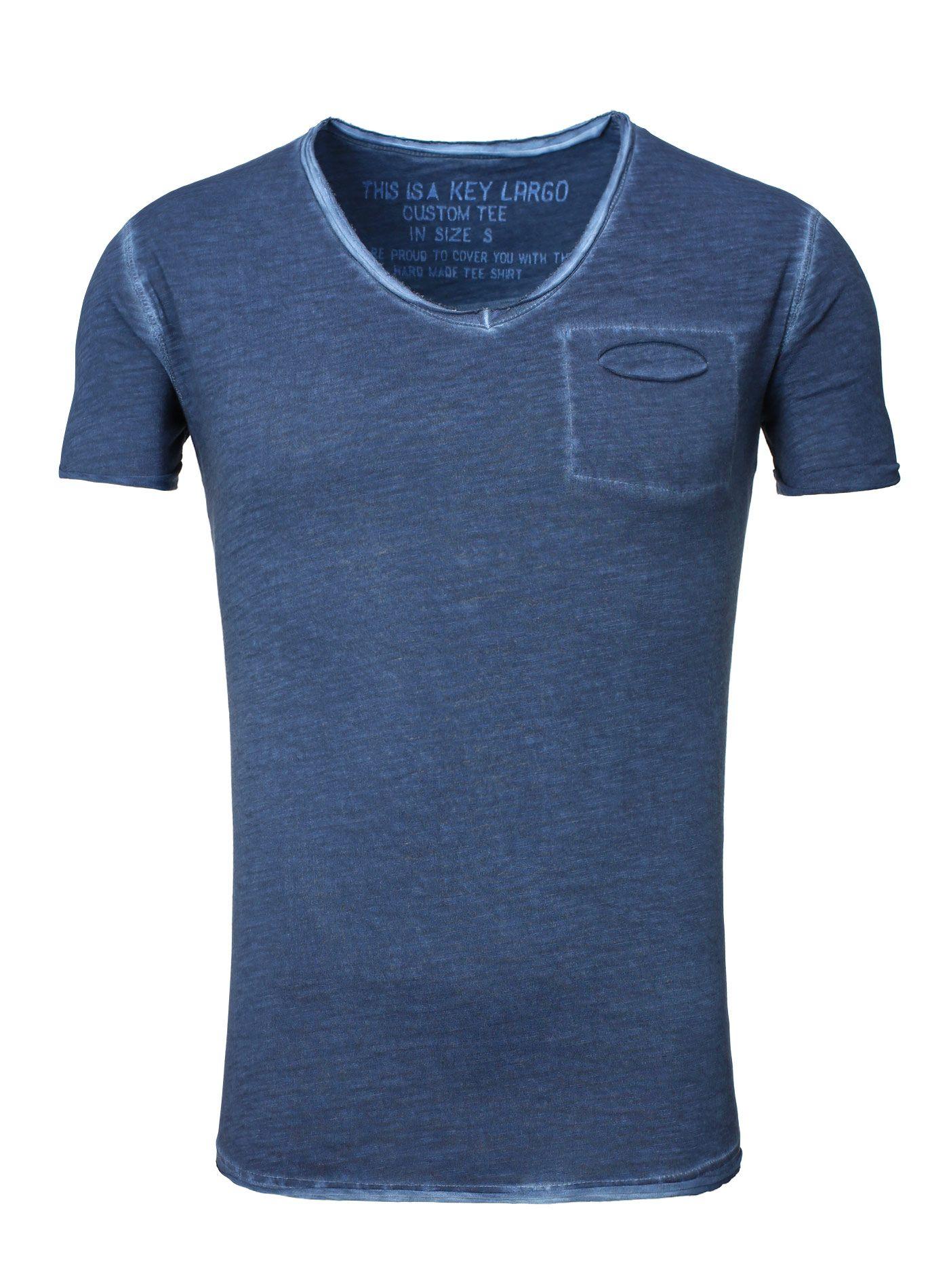 Key Largo T-Shirt Herren V-Neck dunkelblau