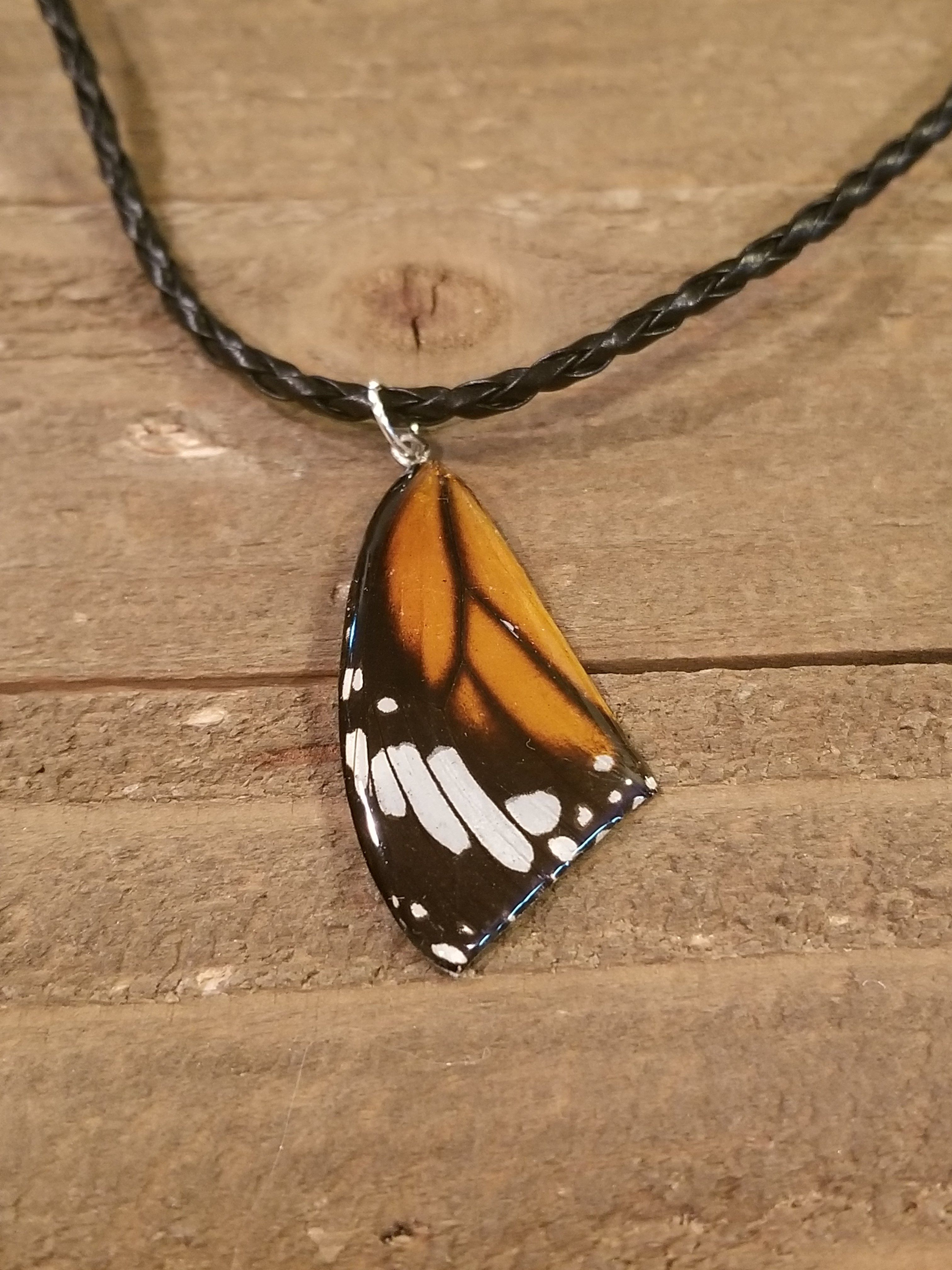 Butterfly Wing Braided Leather Necklace Resin Preserved (N59)