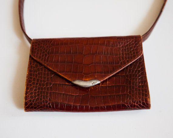 Vintage Ralph Lauren Red Croc Alligator Embossed Leather Envelope ... b6ecd5ab3b9f4