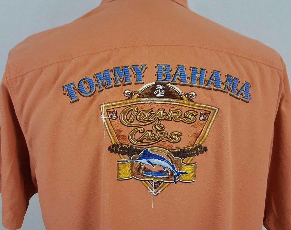 Tommy Bahama Embroidered Cigar Cars Hawaiian Shirt