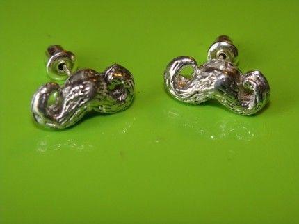 dali mustache silver stud earrings