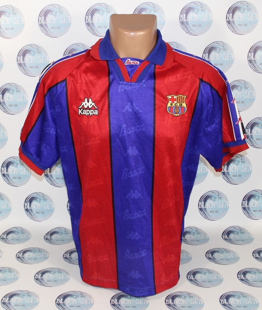 hot sale online 3fe94 4c0be Details about BARCELONA 1995-1997 HOME FOOTBALL SOCCER SHIRT ...