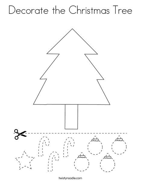 Decorate the Christmas Tree Coloring Page - Twisty Noodle ...