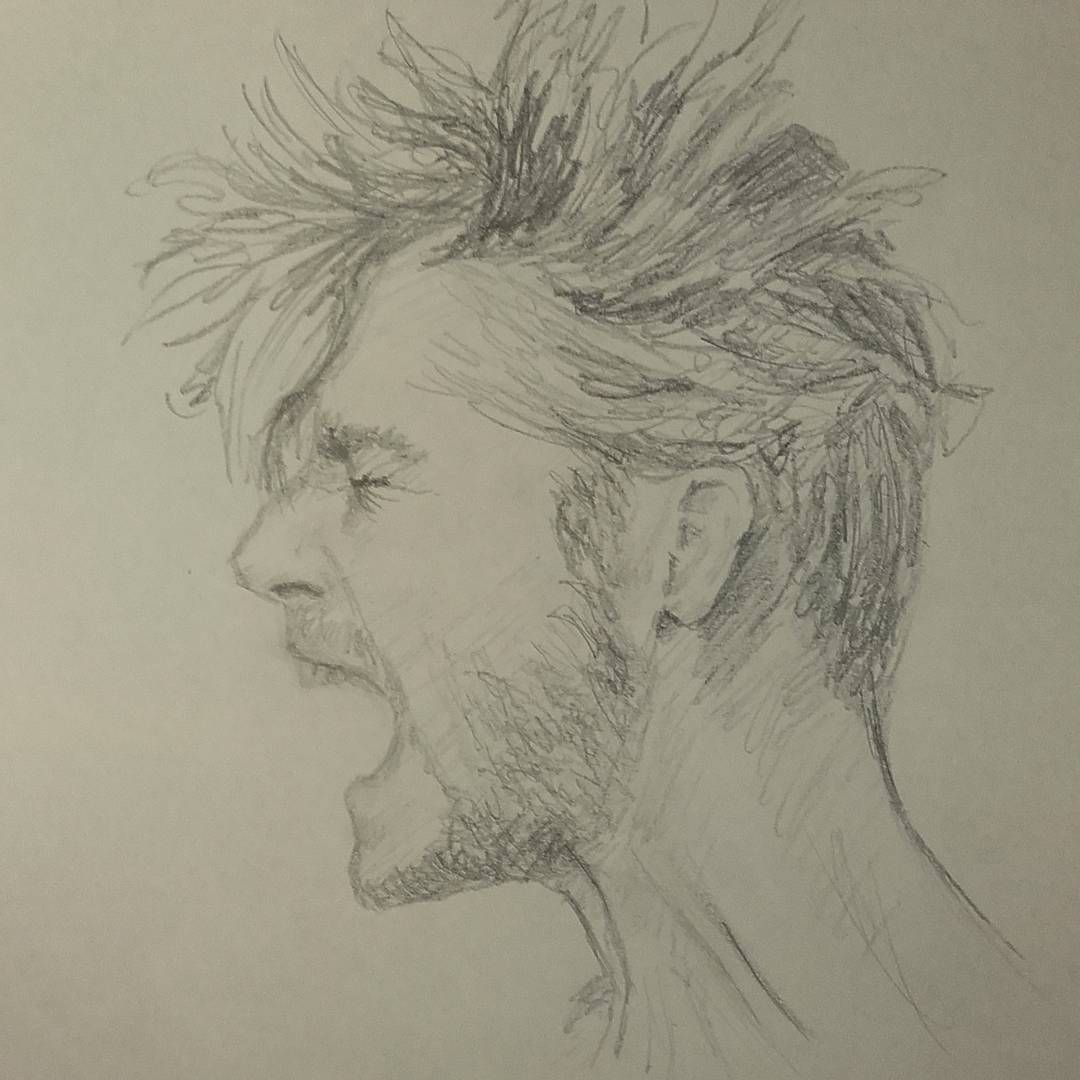 Mysketchbook ch page 7 guy man beard hairstyle scream fury anger rage screaming mood portrait pencil drawing sketch myart art 20minutes