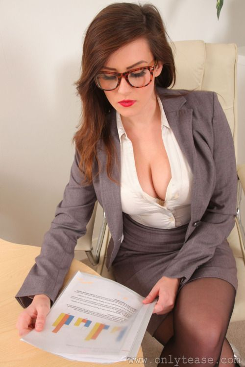 Big busty office girls glasses