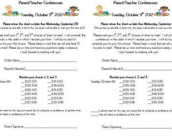 parent teacher conference letters