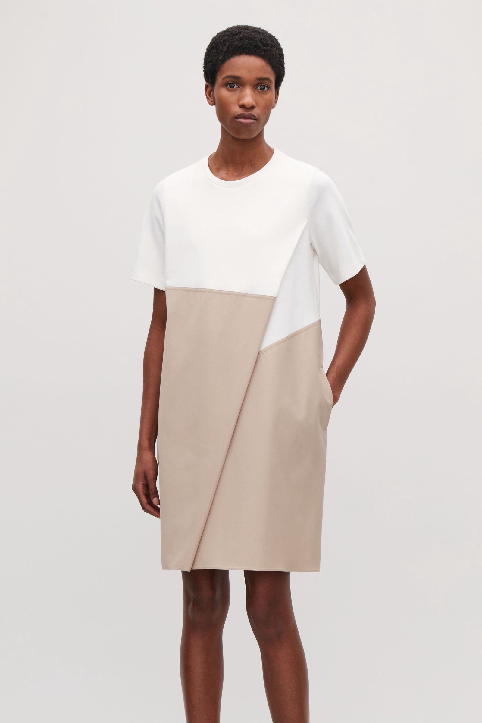 10abed2deff8 POPLIN-PANELLED JERSEY DRESS - ivory(OUT OF STOCK) by COS | d dress ...