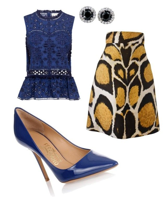 """""""She's got BLUES"""" by theuncommondiva on Polyvore featuring Giles, Sea, New York and Salvatore Ferragamo"""