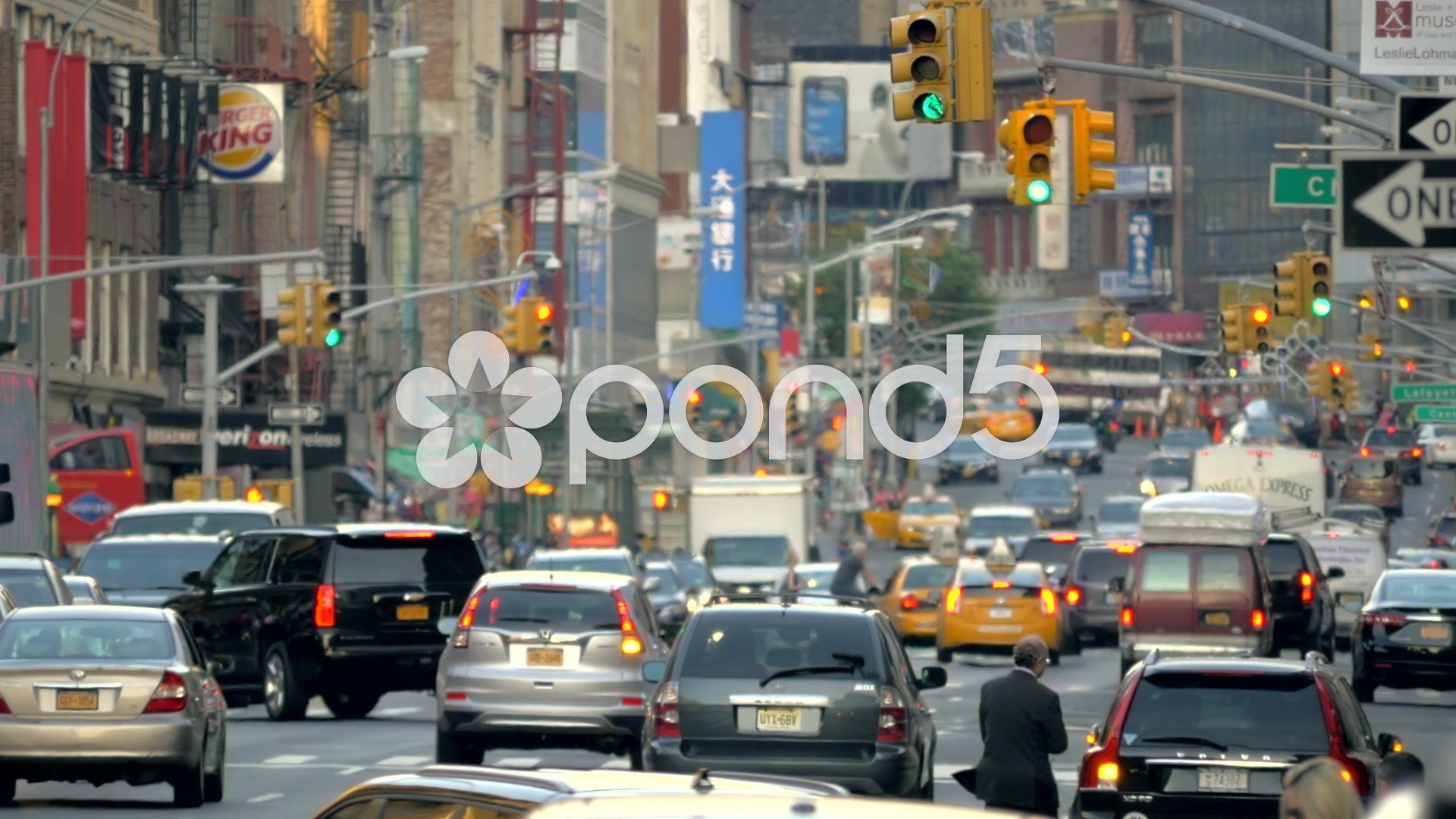 Slow Motion Busy Street Traffic Rush Hour Manhattan New York City