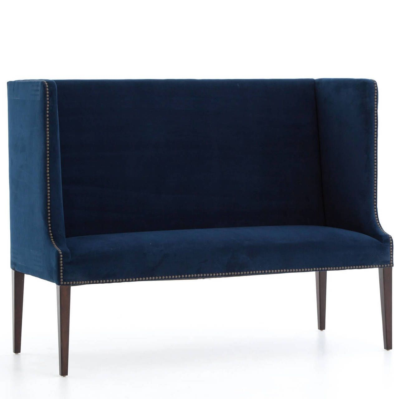Navy Blue High Back Wing Settee Bench
