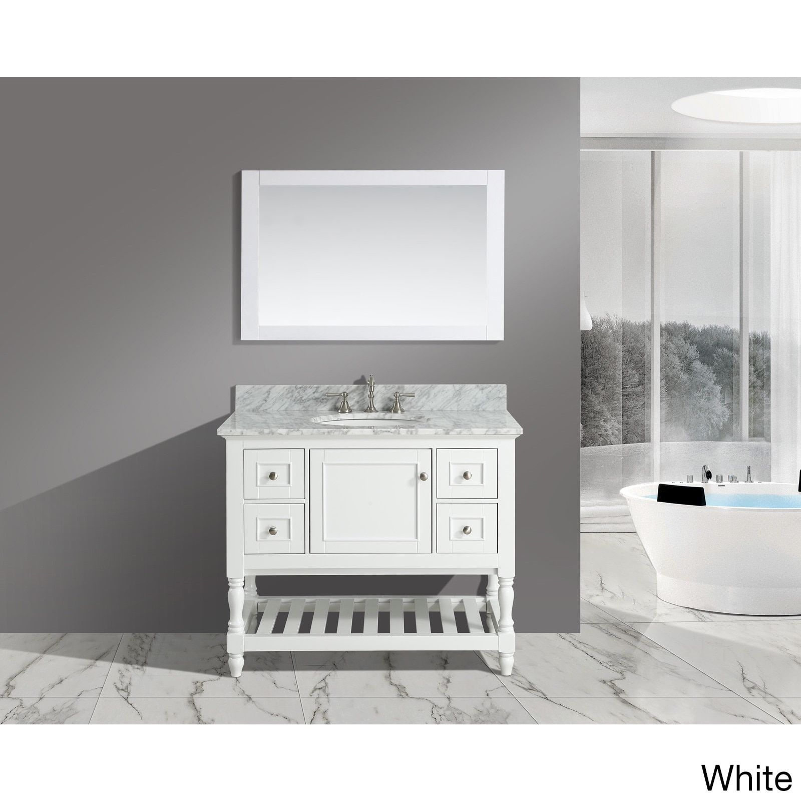 Silvia 42 Inch Bathroom Sink And Vanity Set With White Italian