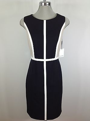 Calvin Klein NEW Black/Ivory/Beige Slimming Colorblock Design Wear to Work Dress