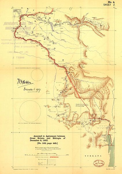 English: Map of the frontier between British East Africa Protectorate in Uganda and Abyssinia (1907)