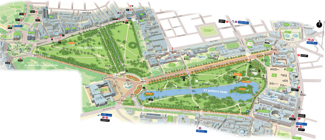 Map of Green Park and St Jamess Park London here we come