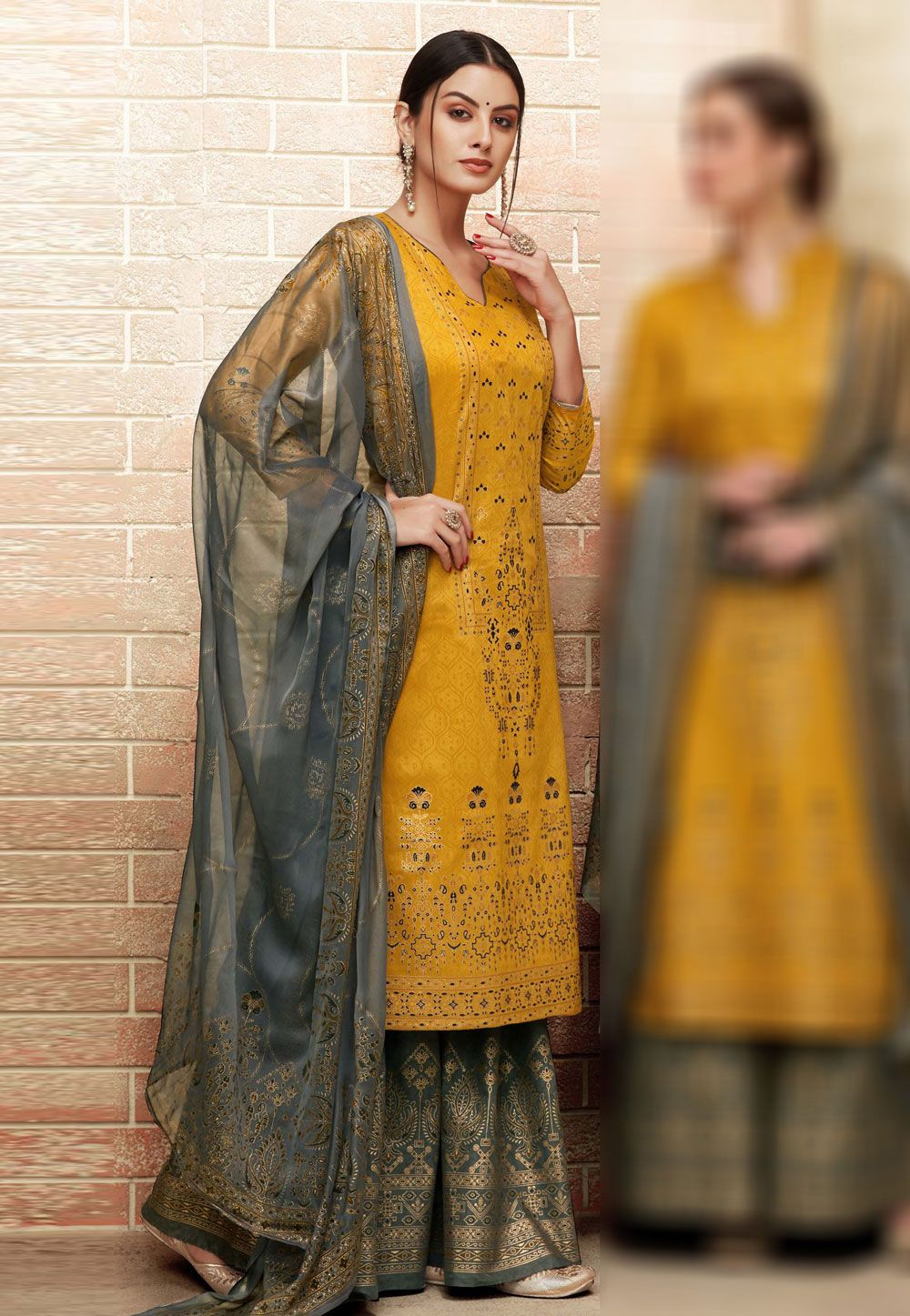 812af5a174c9 Buy Yellow Silk Sharara Suit 163311 online at lowest price from huge  collection of salwar kameez at Indianclothstore.com.