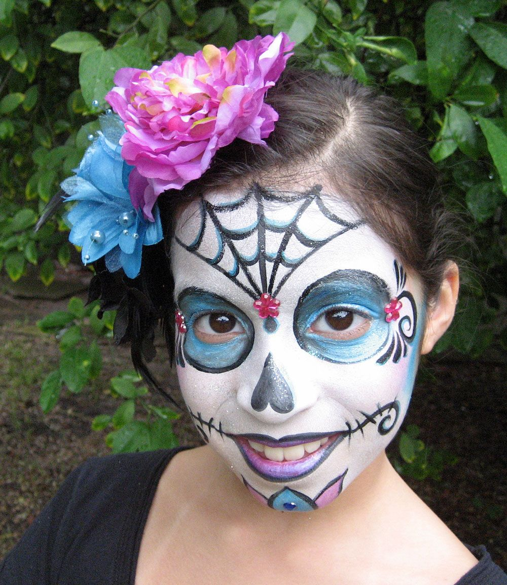 sugar skull day of the dead face painting cute kids without all black eye - Halloween Skull Face Paint Ideas
