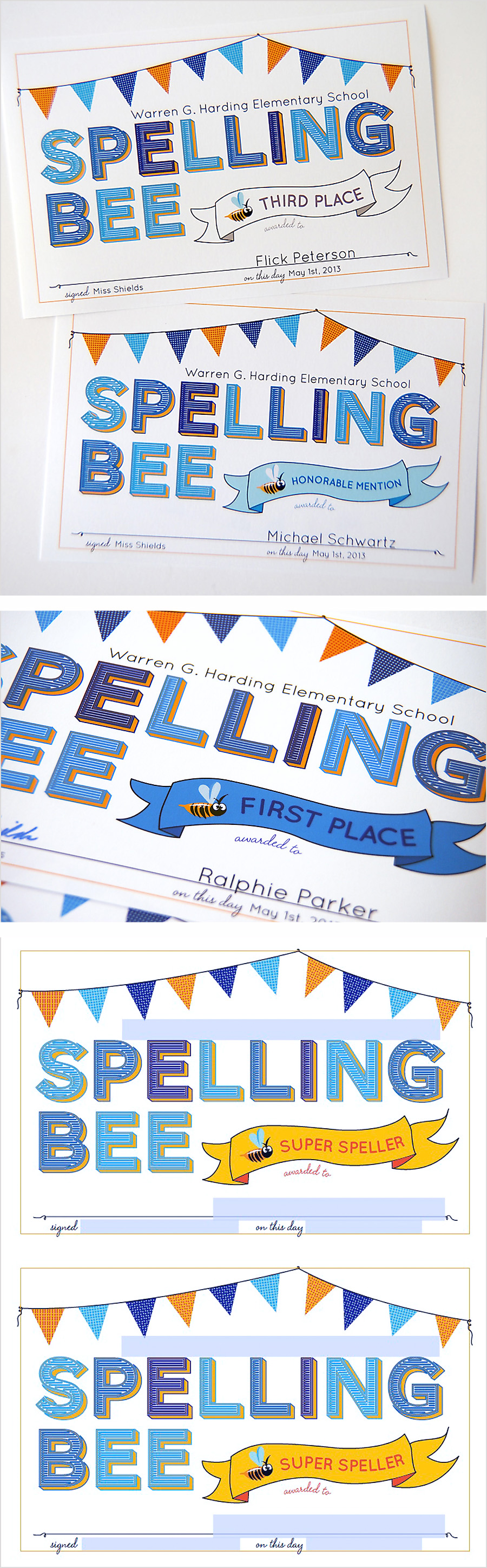 Cute Printable Spelling Bee Certificates. They\'ve got fields so you ...