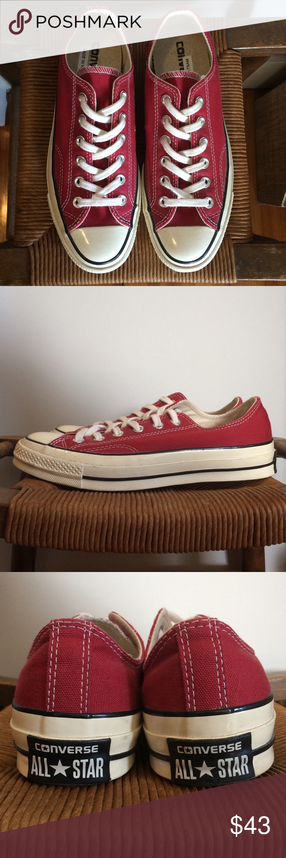 42796c3939ddb0  80 CONVERSE All Star  70s Sneakers in Crimson Red In excellent ...