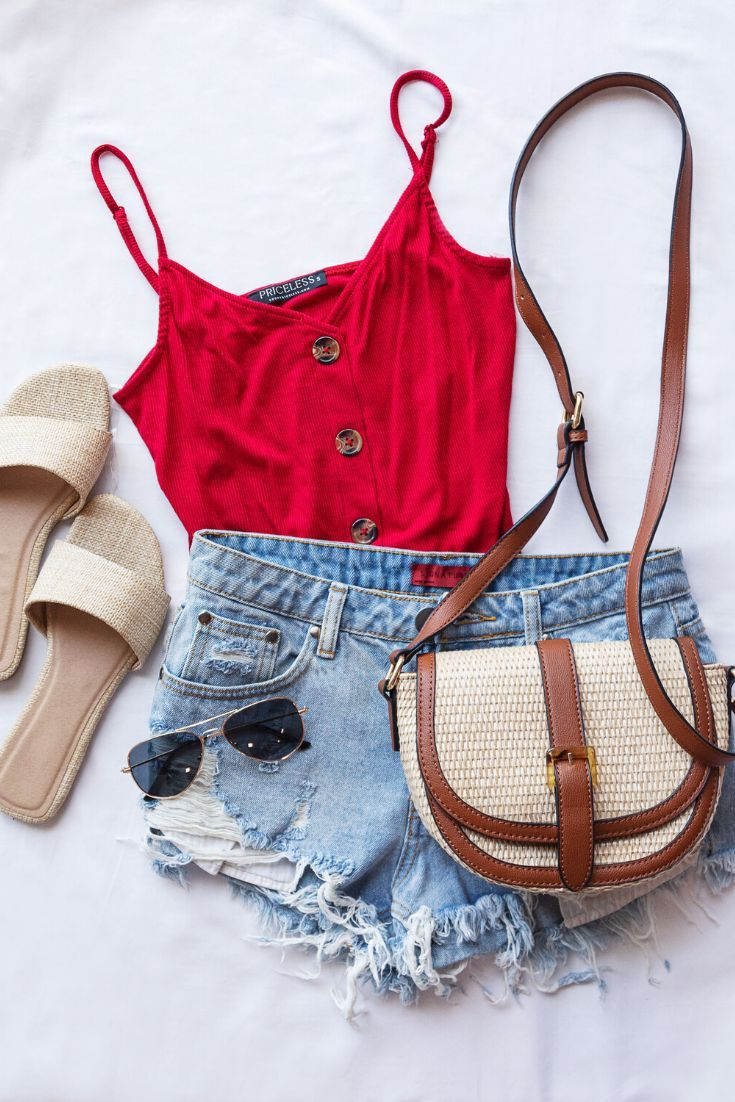 Photo of Brooklyn Red Buttoned Crop Top