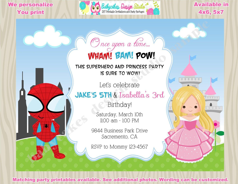 Superhero and Princess Invitation Princess and superhero sibling ...
