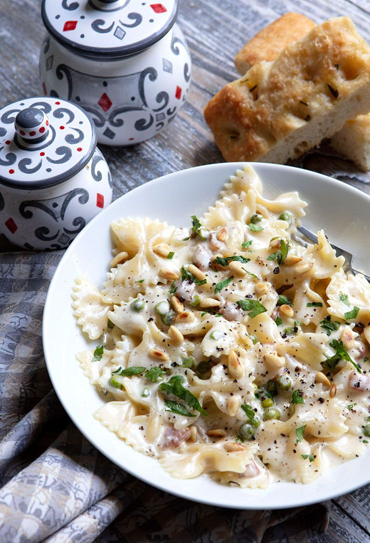 Creamy pasta with peas guanciale goat cheese recipe