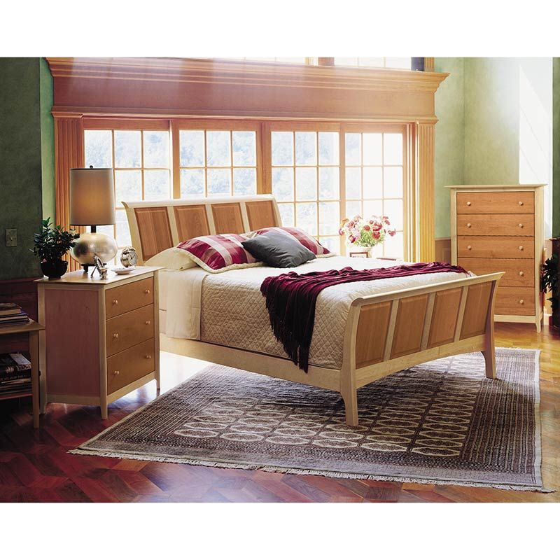 Copeland Sarah Cherry Maple Tone Wood Sleigh Bed American - Copeland bedroom furniture