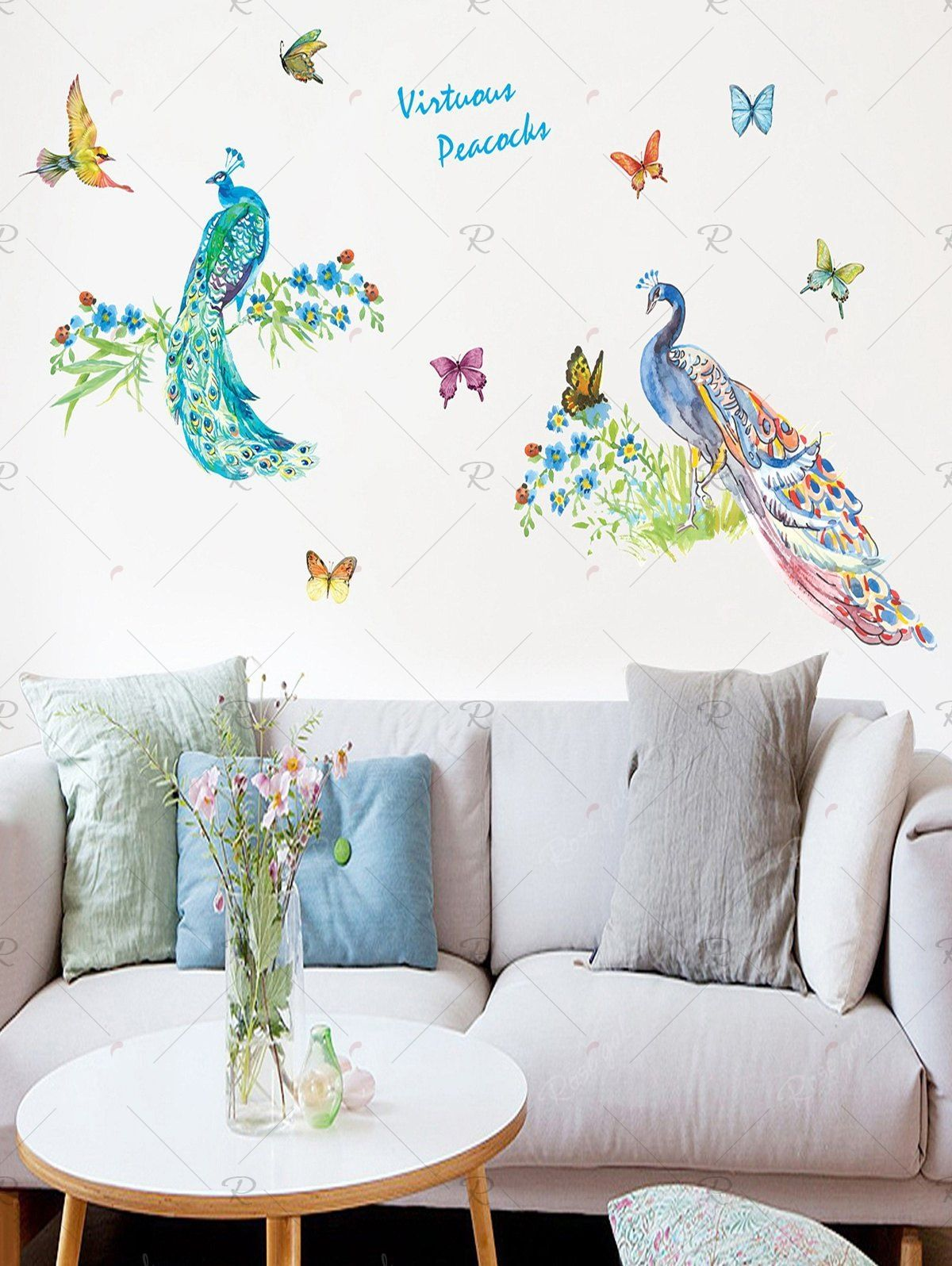 Butterfly And Peacock Removable Wall Art Stickers Sticker Wall Art Removable Wall Art Wall Decor Stickers