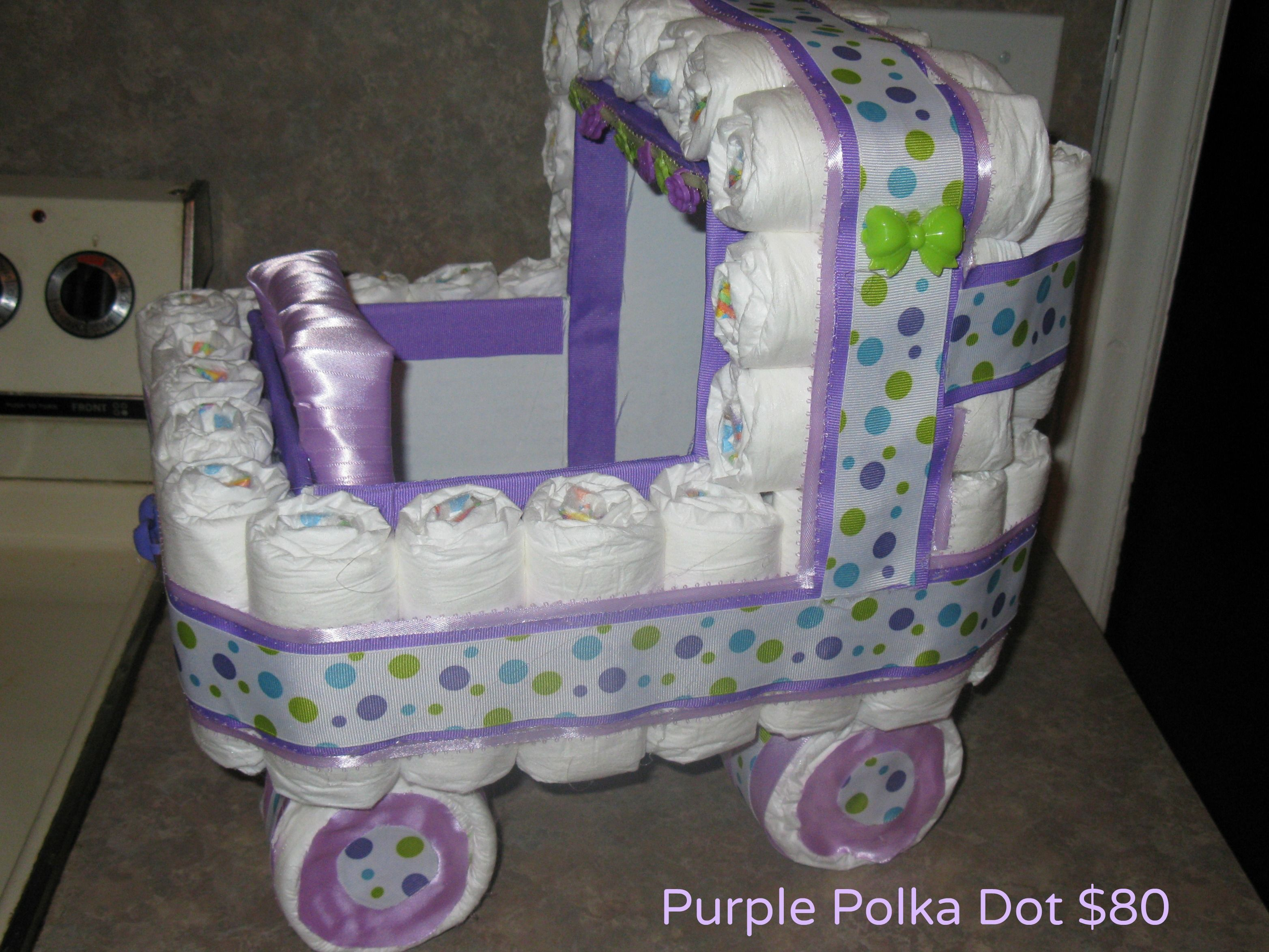 Purple Polka Dot Diaper Stroller The Giftbasket Genie Pinterest