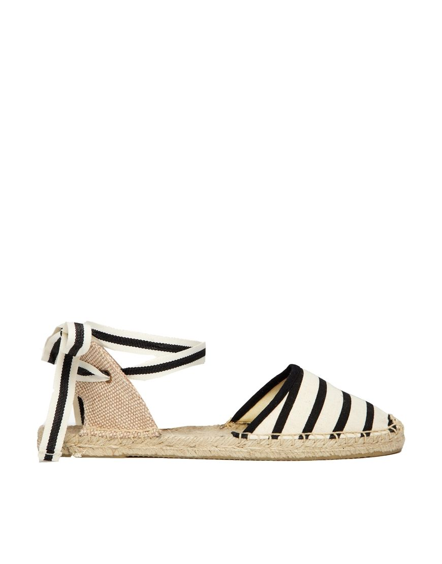Soludos Classic Stripe Natural Flat Sandals