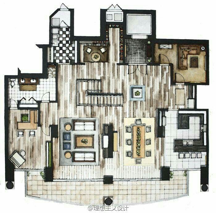 Interior Design Floor Plan Sketches rendered floor plan | interior | design | pinterest | sketches