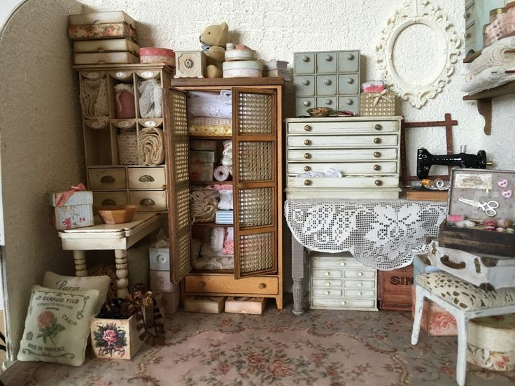 Dollhouse sewing room 1/12 scale   fairy gardens and accesseries