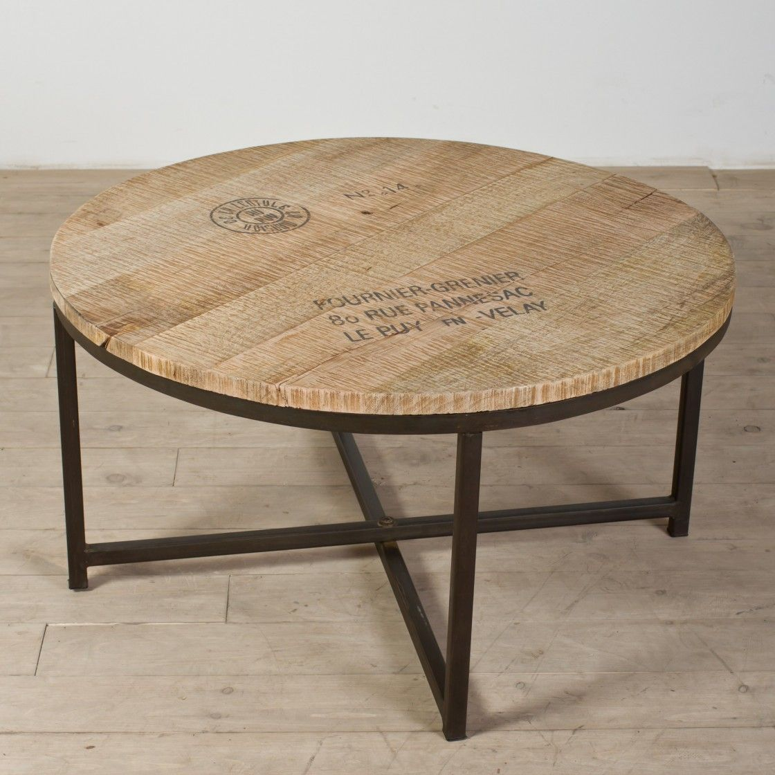How to make a sofa table out of floor boards - Easy Unpolished Ikea Round Wooden Board Coffee Table Cheap Modern With Black Iron Pedestal On Hardwood