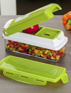 Nicer Dicer makes cutting more fun and easy!!!! All in one easy nicer dicer plus multi chopper vegetable cutter and fruit slicer, peeler for AED 89 only.