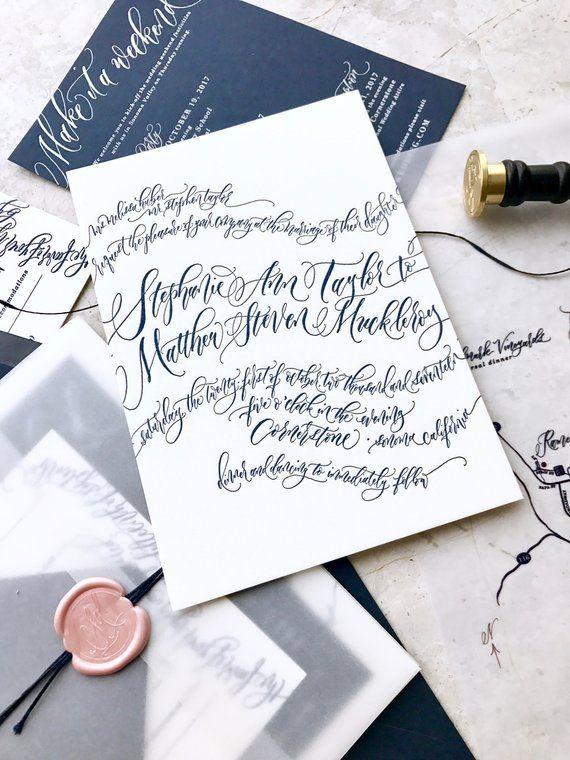 Letterpress Wedding Invitations Romantic Calligraphy Waves