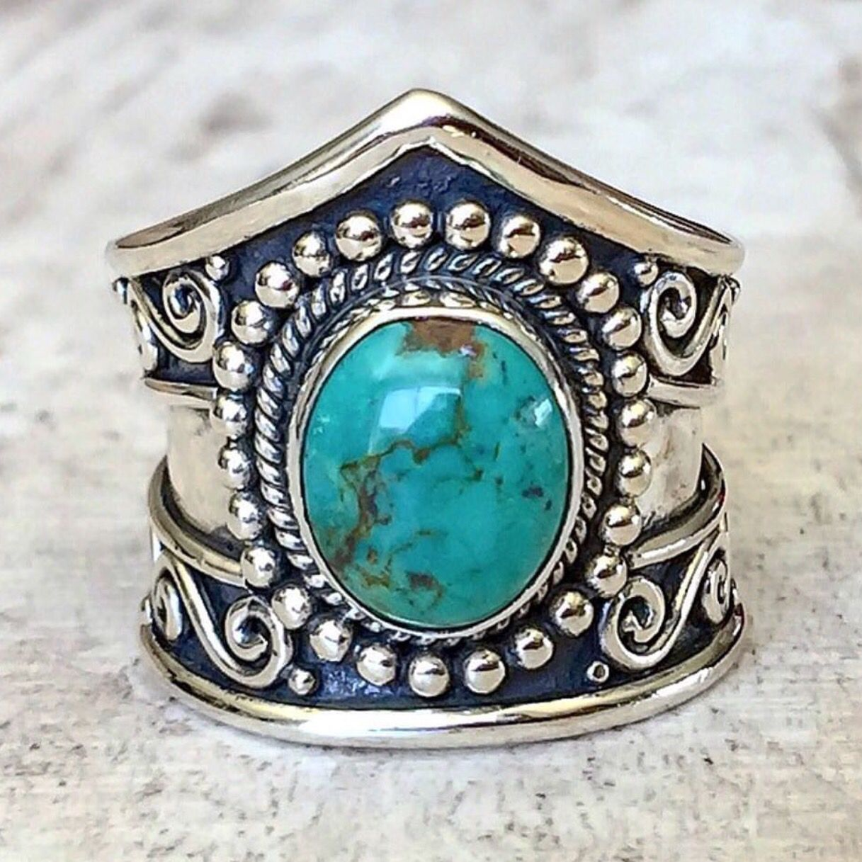 T U R Q U O I S E || Tribal Turquoise Ring || This stunner is available in our…