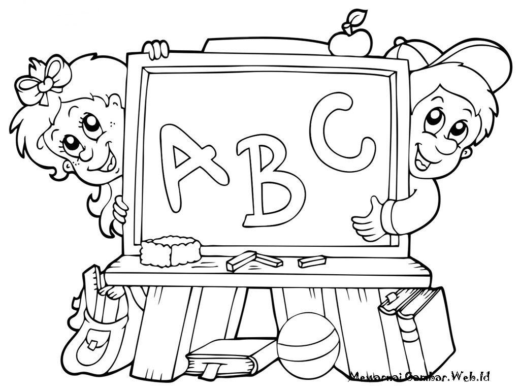 10 Mewarnai Gambar Belajar Di Sekolah Coloring Pages Abc Lettering