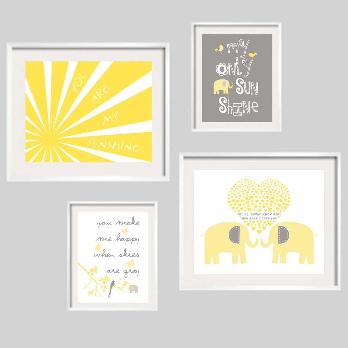 You Are My Sunshine Wall Art, Yellow and Grey Elephant Print Set for ...