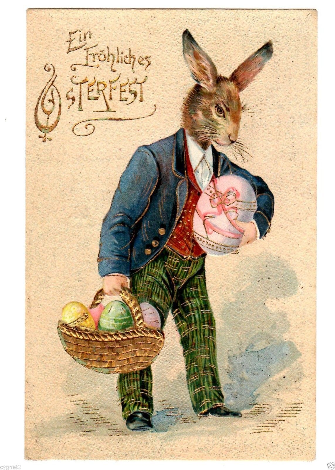 Postcard German Easter Greetings Rabbit With Gold Basket 1906 Ebay