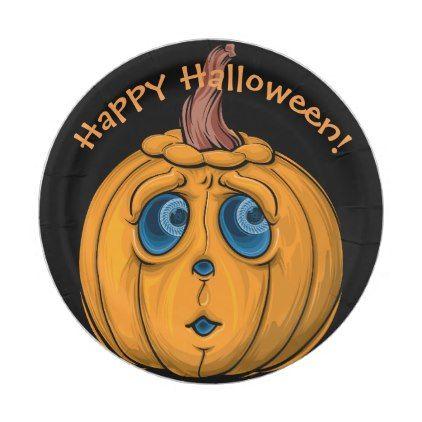 Personalized // Funny Pumpkin // Happy Halloween Paper Plate  sc 1 st  Pinterest & Personalized // Funny Pumpkin // Happy Halloween Paper Plate | Funny ...
